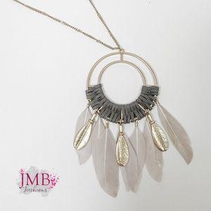 Jewelry - NEW Gray & Golf Dreamcatcher Necklace, Nella